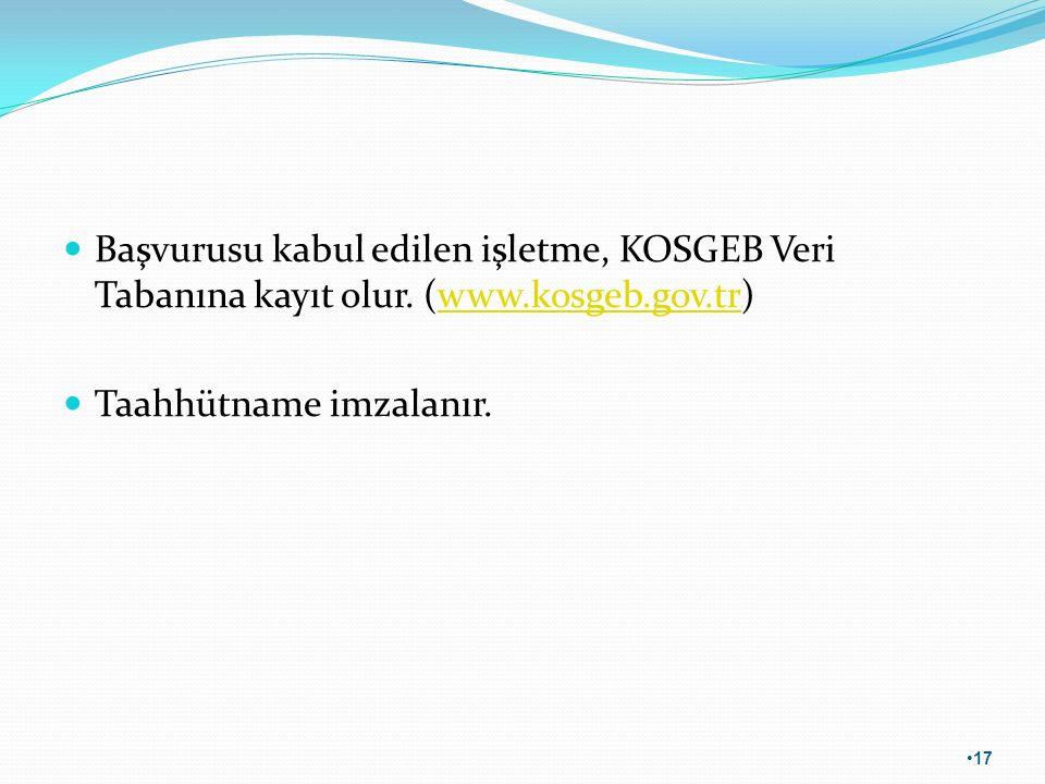 Başvurusu kabul edilen işletme, KOSGEB Veri Tabanına kayıt olur. (www