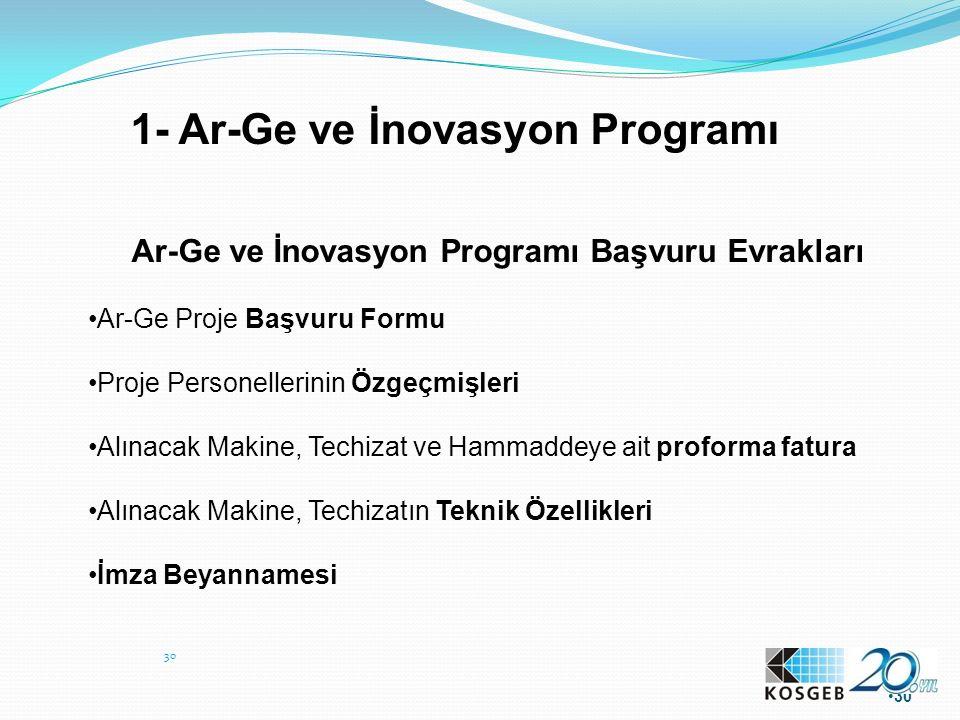 1- Ar-Ge ve İnovasyon Programı