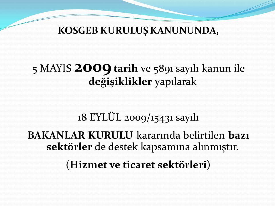 KOSGEB KURULUŞ KANUNUNDA,