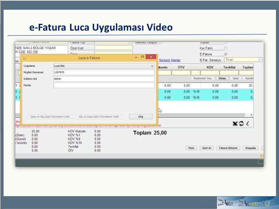 e-Fatura Luca Uygulaması Video