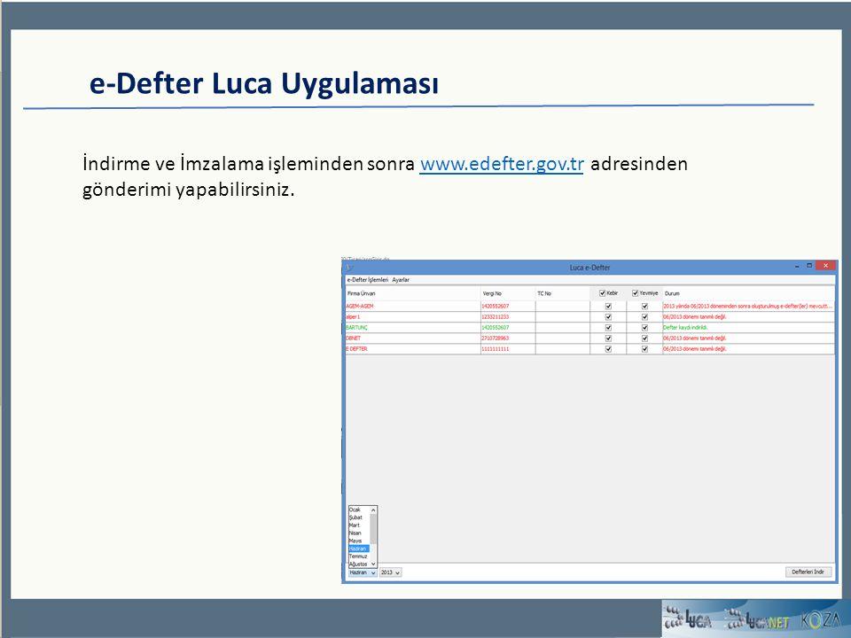 e-Defter Luca Uygulaması