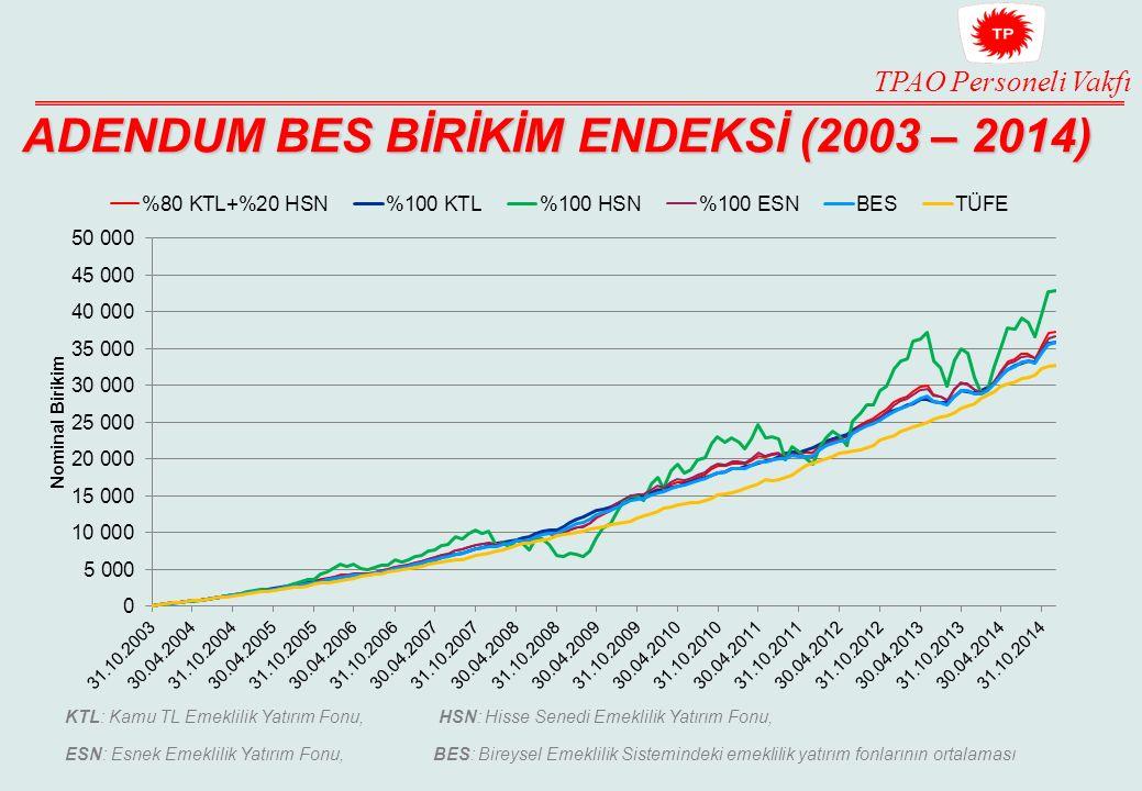 ADENDUM BES BİRİKİM ENDEKSİ (2003 – 2014)
