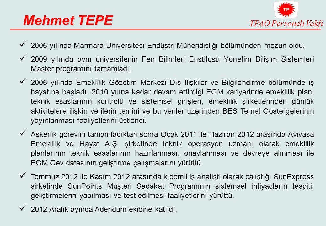 Mehmet TEPE 2006 yılında Marmara Üniversitesi Endüstri Mühendisliği bölümünden mezun oldu.