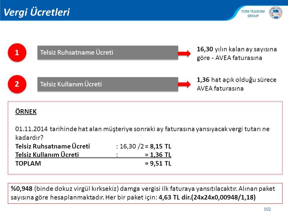 Vergi Ücretleri 1. 16,30 yılın kalan ay sayısına göre - AVEA faturasına. Telsiz Ruhsatname Ücreti.