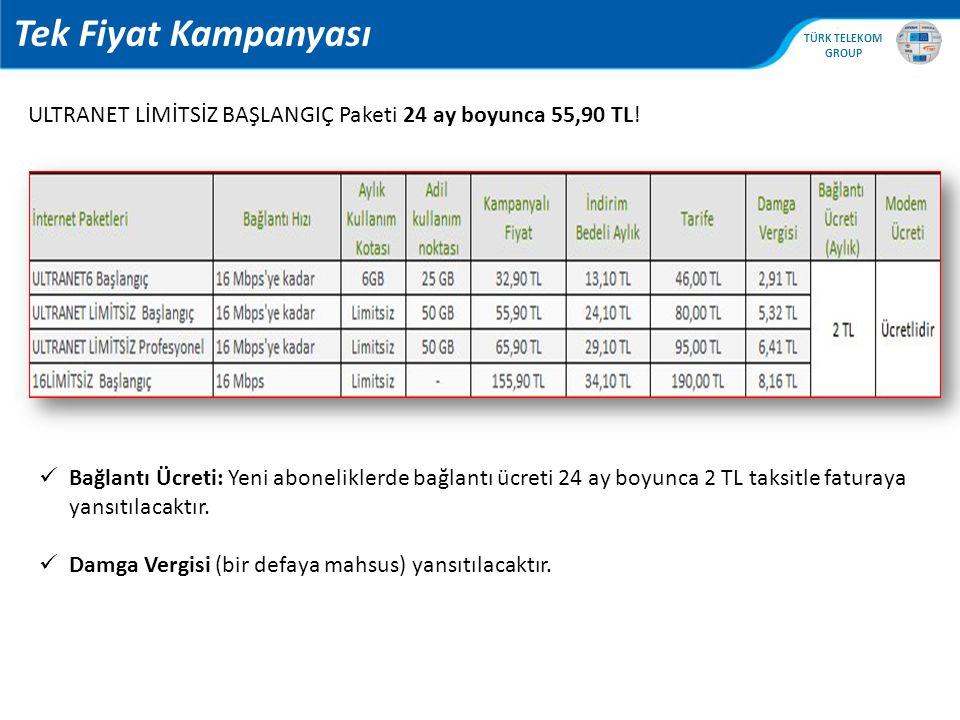 Tek Fiyat Kampanyası ULTRANET LİMİTSİZ BAŞLANGIÇ Paketi 24 ay boyunca 55,90 TL!