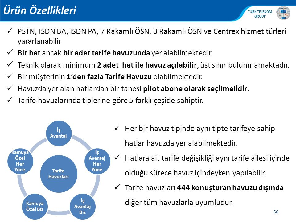 Ürün Özellikleri PSTN, ISDN BA, ISDN PA, 7 Rakamlı ÖSN, 3 Rakamlı ÖSN ve Centrex hizmet türleri yararlanabilir.