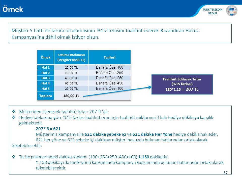 Fatura Ortalaması (Vergiler dahil-TL) Taahhüt Edilecek Tutar