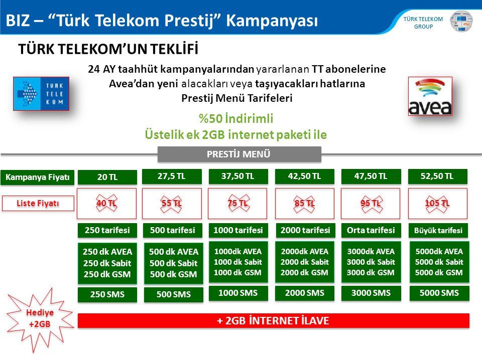 Prestij Menü Tarifeleri Üstelik ek 2GB internet paketi ile