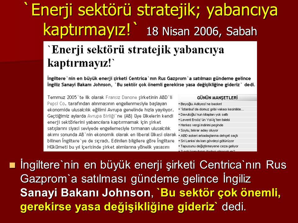 `Enerji sektörü stratejik; yabancıya kaptırmayız