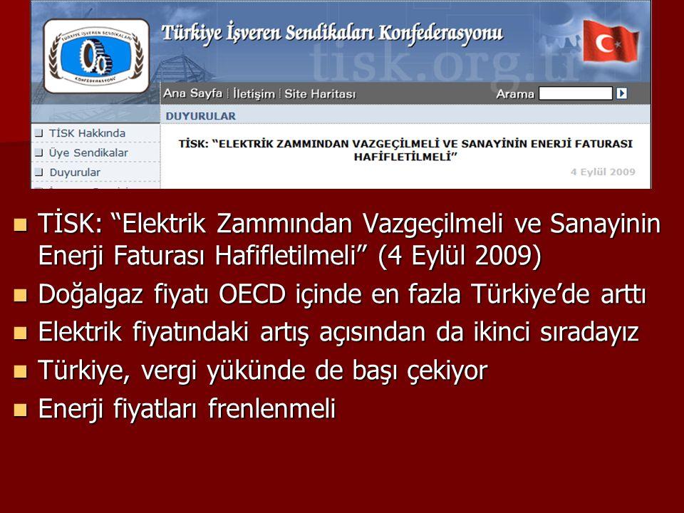TİSK: Elektrik Zammından Vazgeçilmeli ve Sanayinin Enerji Faturası Hafifletilmeli (4 Eylül 2009)