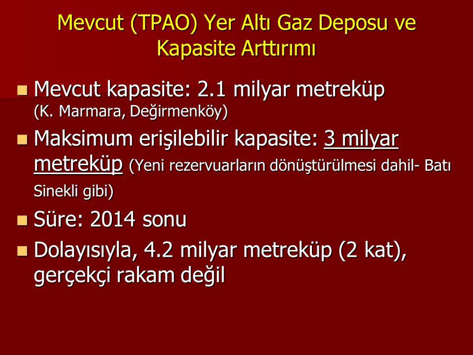 Mevcut (TPAO) Yer Altı Gaz Deposu ve Kapasite Arttırımı