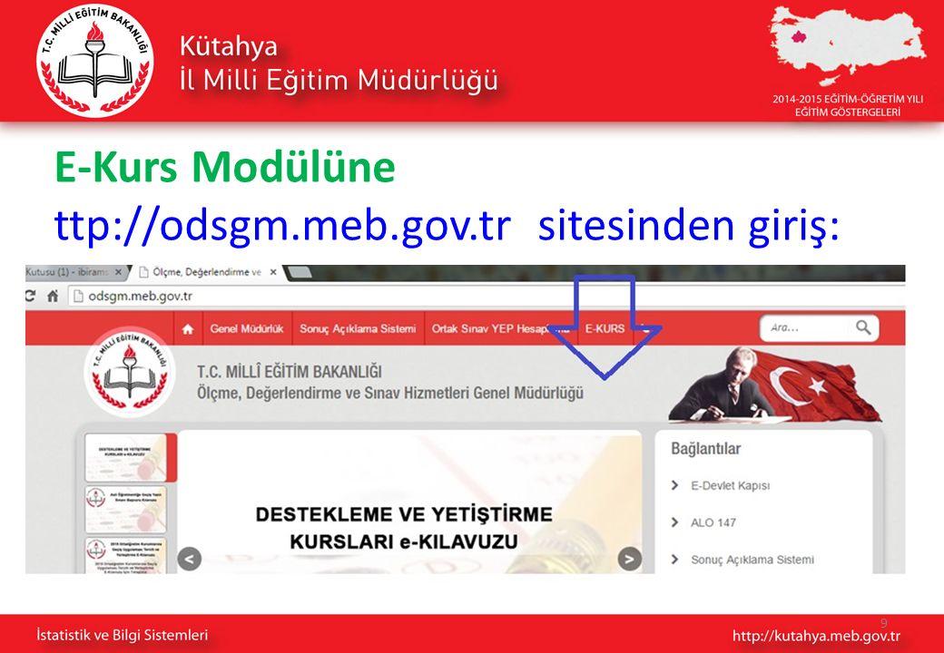 E-Kurs Modülüne ttp://odsgm.meb.gov.tr sitesinden giriş: