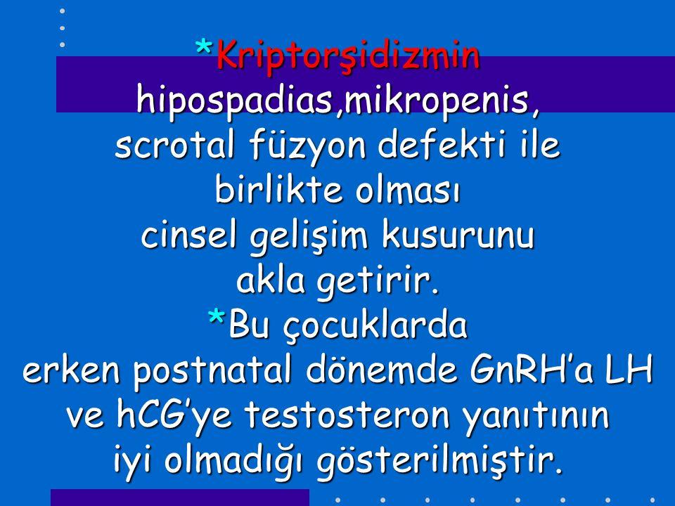 *Kriptorşidizmin hipospadias,mikropenis, scrotal füzyon defekti ile birlikte olması cinsel gelişim kusurunu akla getirir.