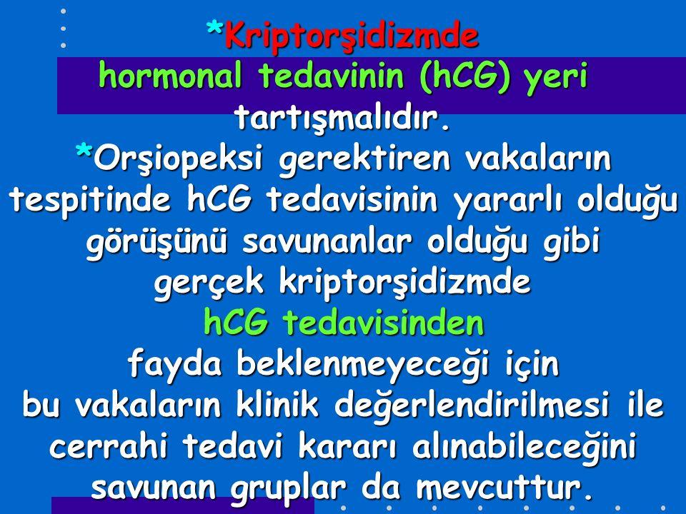 Kriptorşidizmde hormonal tedavinin (hCG) yeri tartışmalıdır