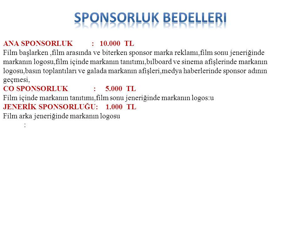 Sponsorluk bedelleri ANA SPONSORLUK : 10.000 TL