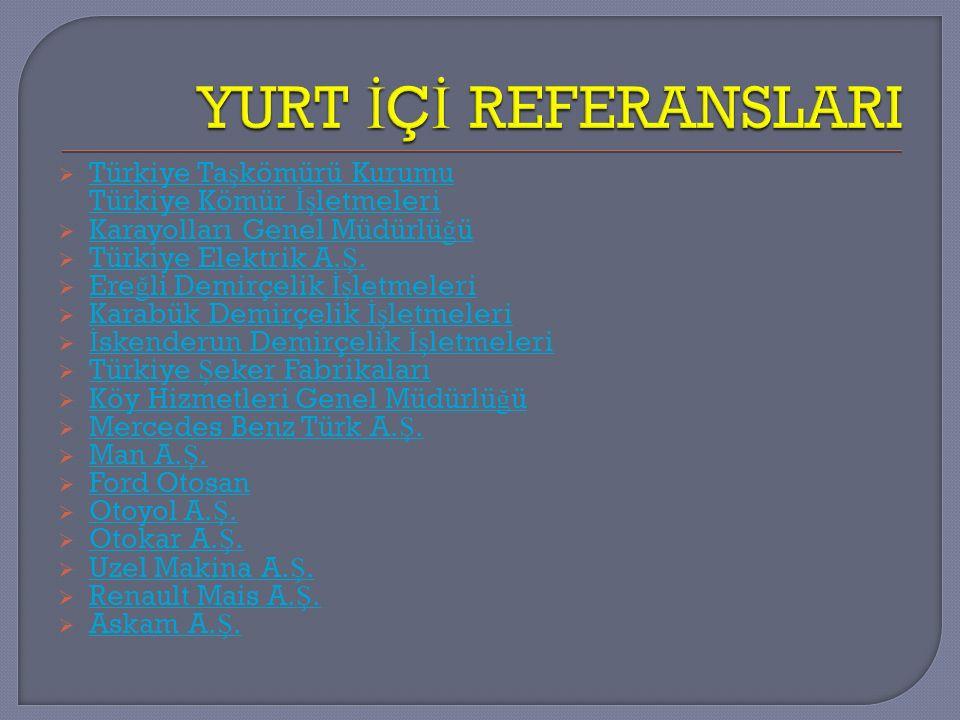 YURT İÇİ REFERANSLARI Türkiye Taşkömürü Kurumu Türkiye Kömür İşletmeleri. Karayolları Genel Müdürlüğü.
