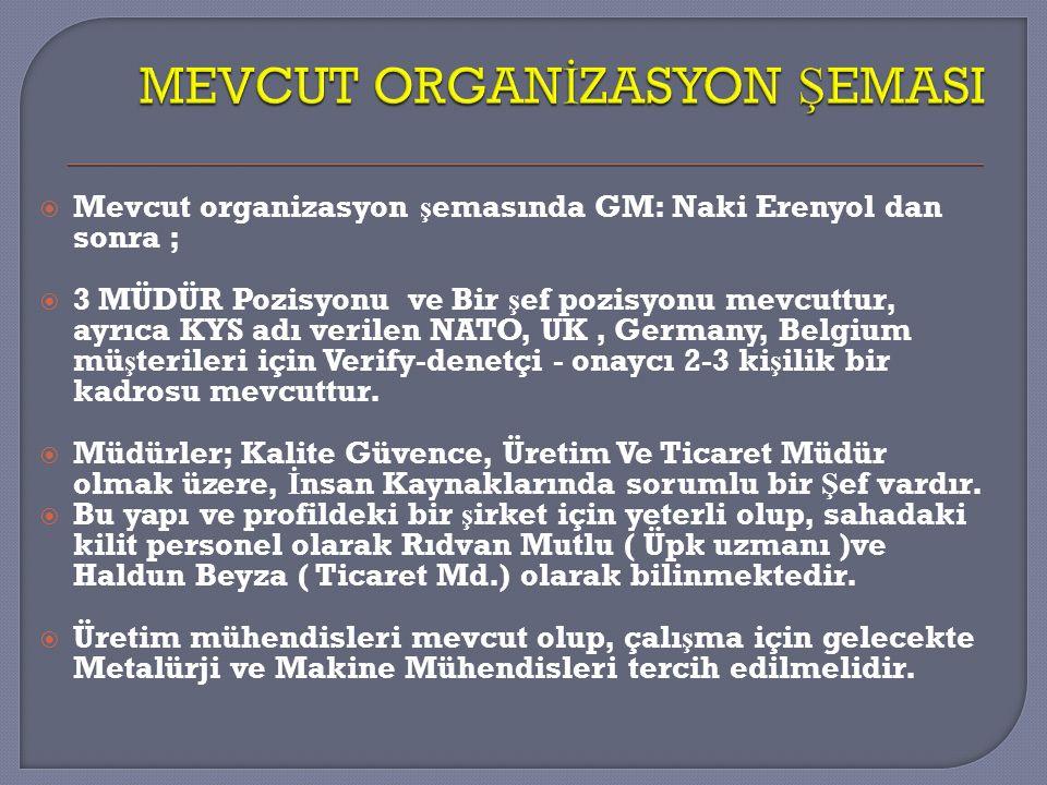 MEVCUT ORGANİZASYON ŞEMASI