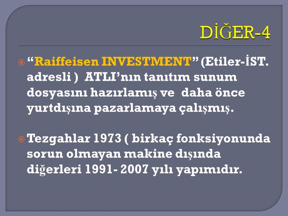 DİĞER-4 Raiffeisen INVESTMENT (Etiler-İST. adresli ) ATLI'nın tanıtım sunum dosyasını hazırlamış ve daha önce yurtdışına pazarlamaya çalışmış.