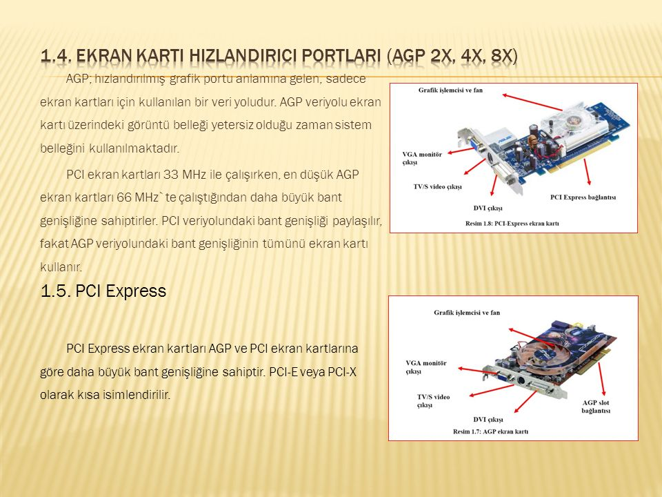 1.4. Ekran Karti Hizlandirici Portlari (AGP 2x, 4x, 8x)