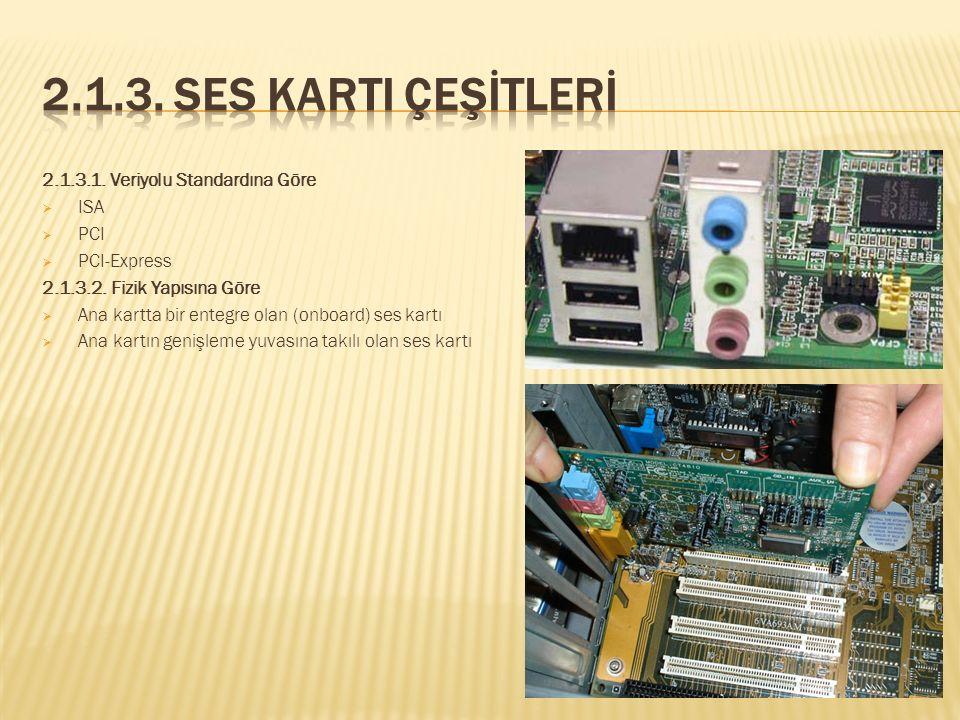 2.1.3. Ses Karti Çeşİtlerİ 2.1.3.1. Veriyolu Standardına Göre ISA PCI