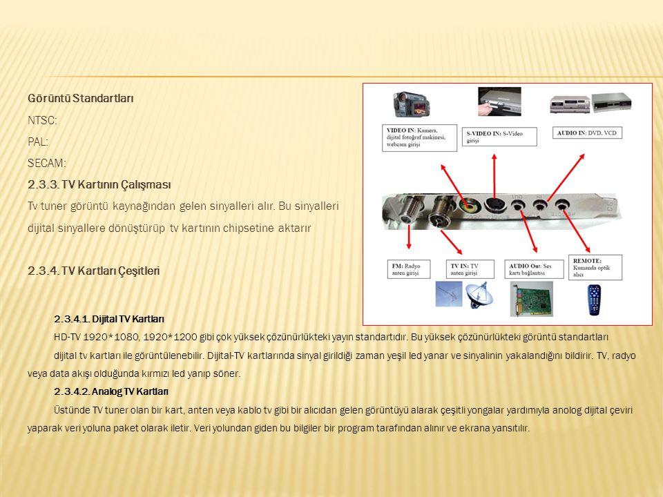 Görüntü Standartları NTSC: PAL: SECAM: 2. 3. 3