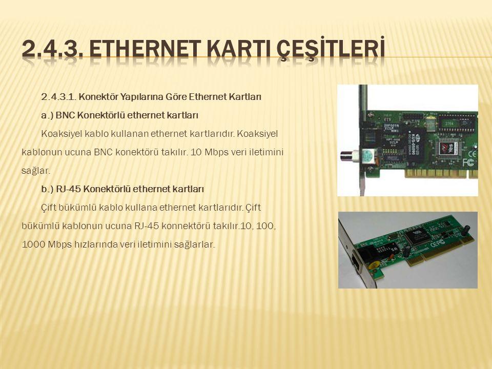 2.4.3. Ethernet Karti Çeşİtlerİ