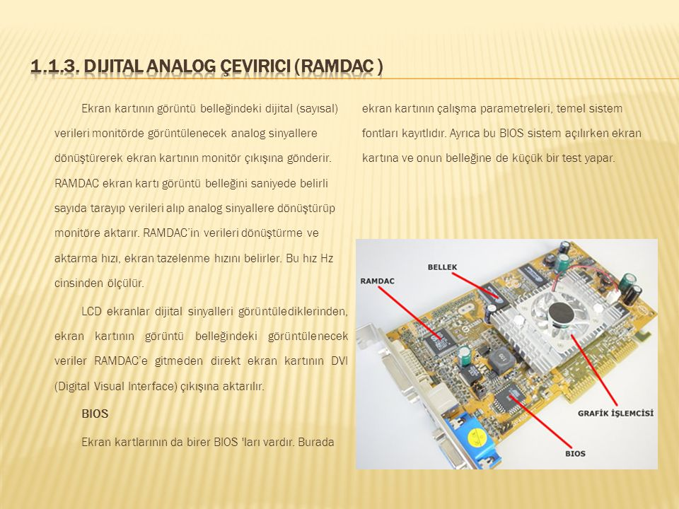 1.1.3. Dijital Analog Çevirici (RAMDAC )