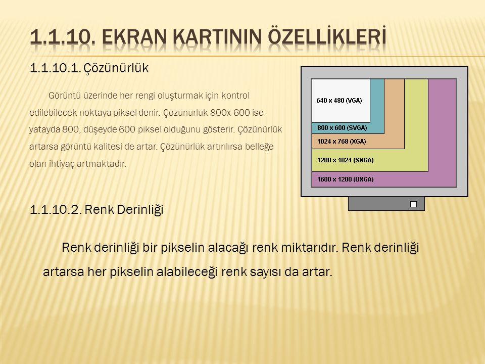 1.1.10. Ekran Kartinin Özellİklerİ