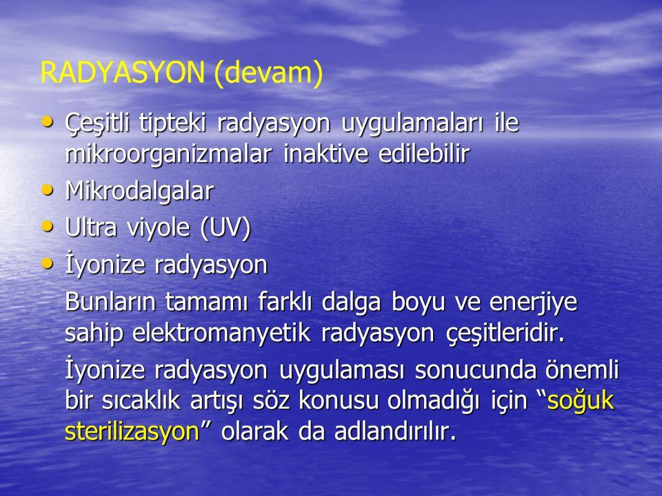 RADYASYON (devam) Çeşitli tipteki radyasyon uygulamaları ile mikroorganizmalar inaktive edilebilir.