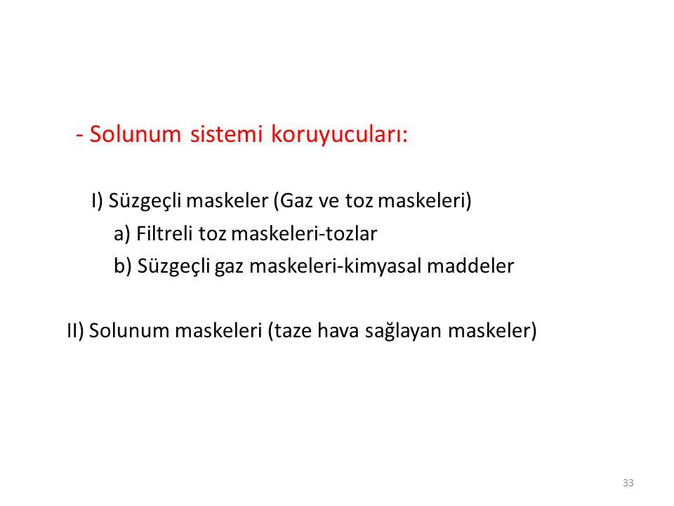 - Solunum sistemi koruyucuları: