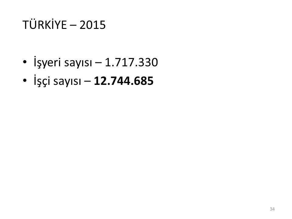 TÜRKİYE – 2015 İşyeri sayısı – 1.717.330 İşçi sayısı – 12.744.685