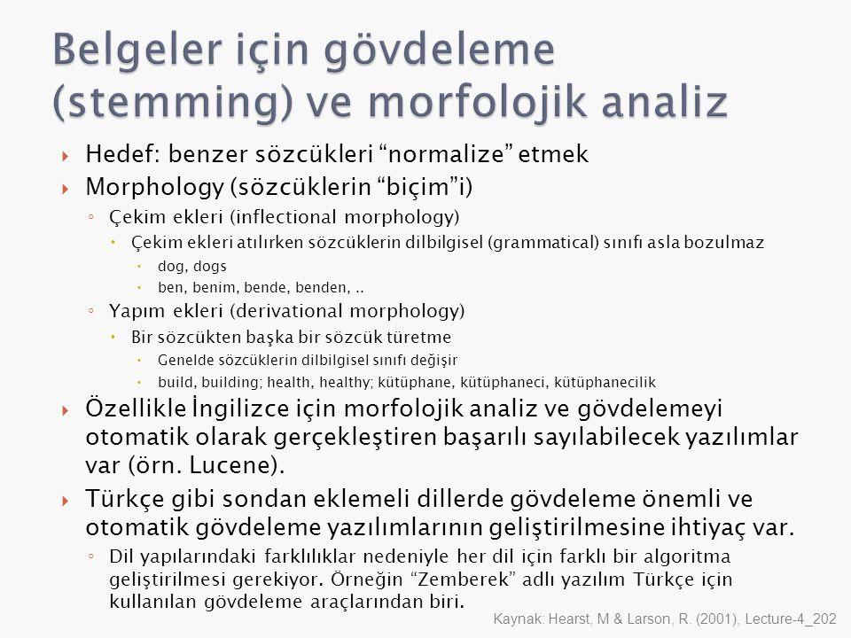 Belgeler için gövdeleme (stemming) ve morfolojik analiz