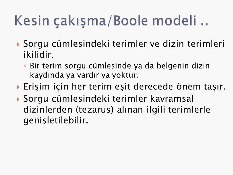 Kesin çakışma/Boole modeli ..