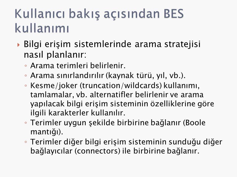 Kullanıcı bakış açısından BES kullanımı