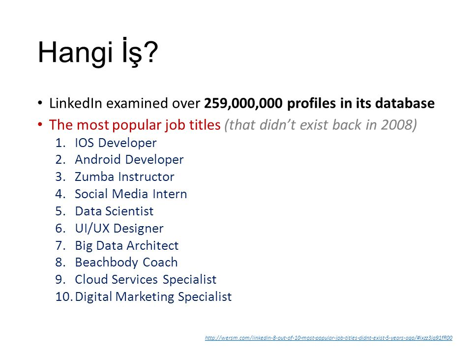 Hangi İş LinkedIn examined over 259,000,000 profiles in its database