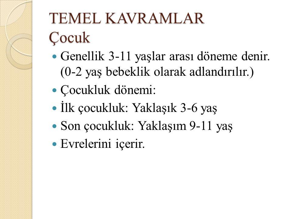 TEMEL KAVRAMLAR Çocuk Genellik 3-11 yaşlar arası döneme denir. (0-2 yaş bebeklik olarak adlandırılır.)