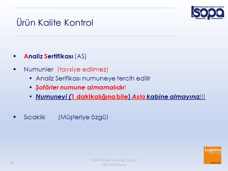 Ürün Kalite Kontrol Analiz Sertifikası (AS) Numunler (tavsiye edilmez)