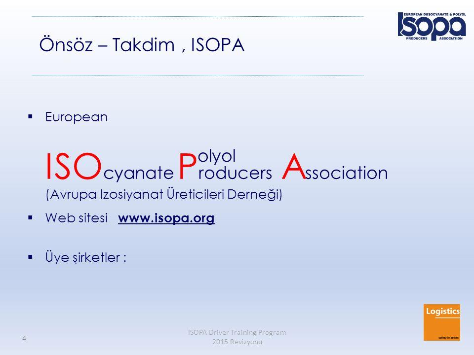 Önsöz – Takdim , ISOPA olyol European