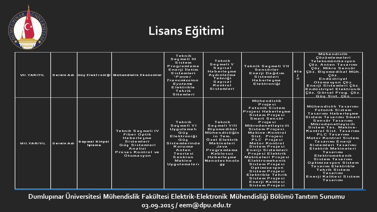 Lisans Eğitimi Dumlupınar Üniversitesi Mühendislik Fakültesi Elektrik-Elektronik Mühendisliği Bölümü Tanıtım Sunumu.