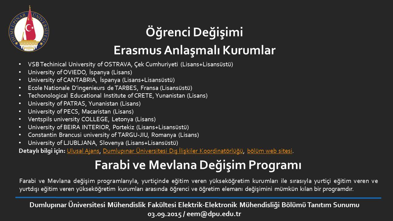Erasmus Anlaşmalı Kurumlar Farabi ve Mevlana Değişim Programı