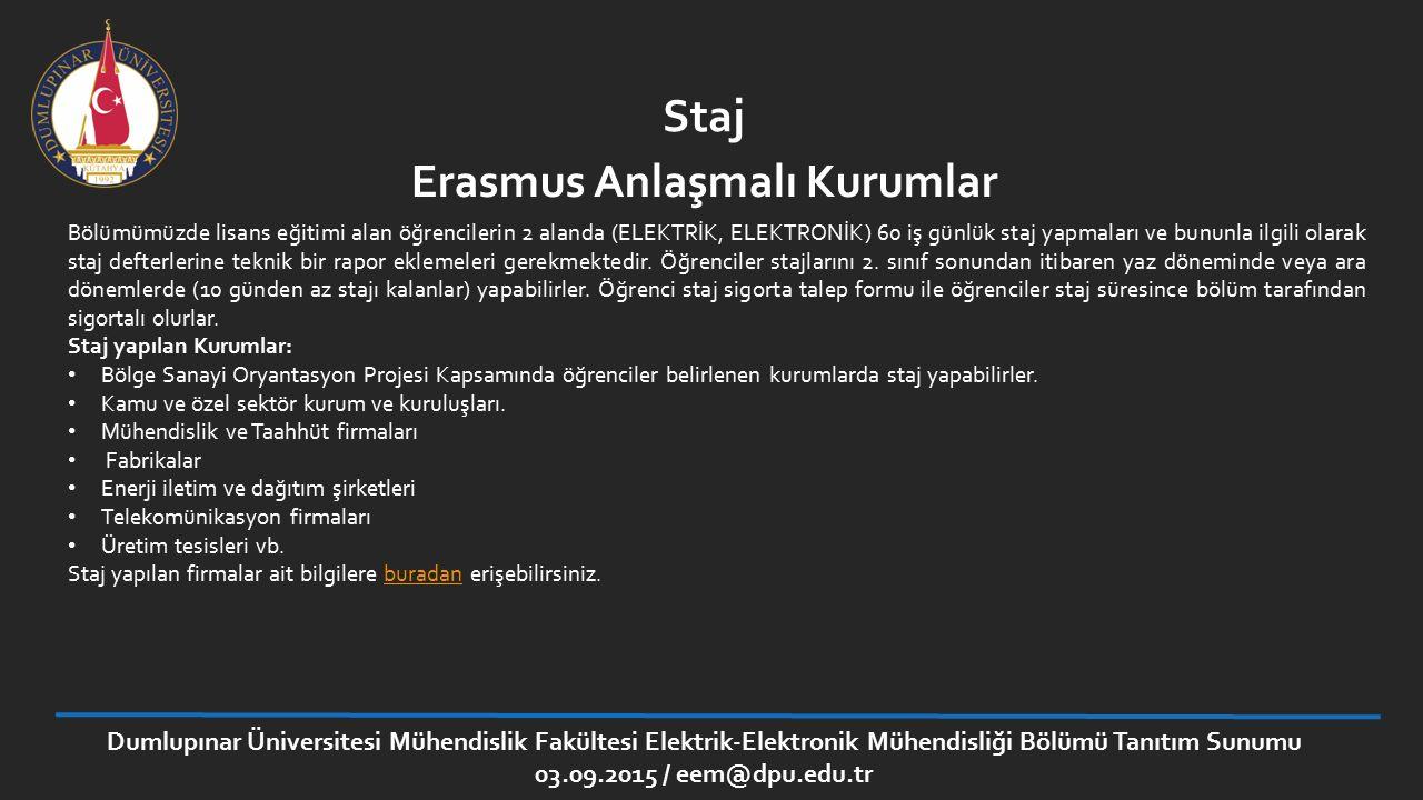Erasmus Anlaşmalı Kurumlar