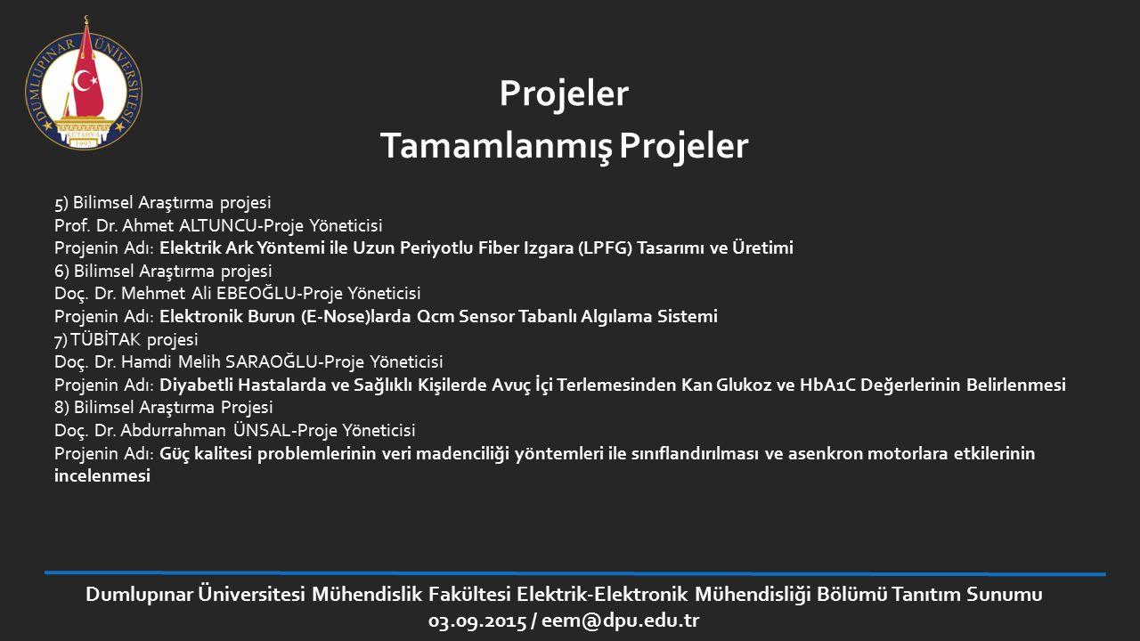 Projeler Tamamlanmış Projeler