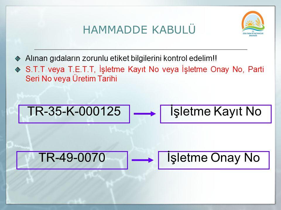 TR-35-K-000125 İşletme Kayıt No TR-49-0070 İşletme Onay No