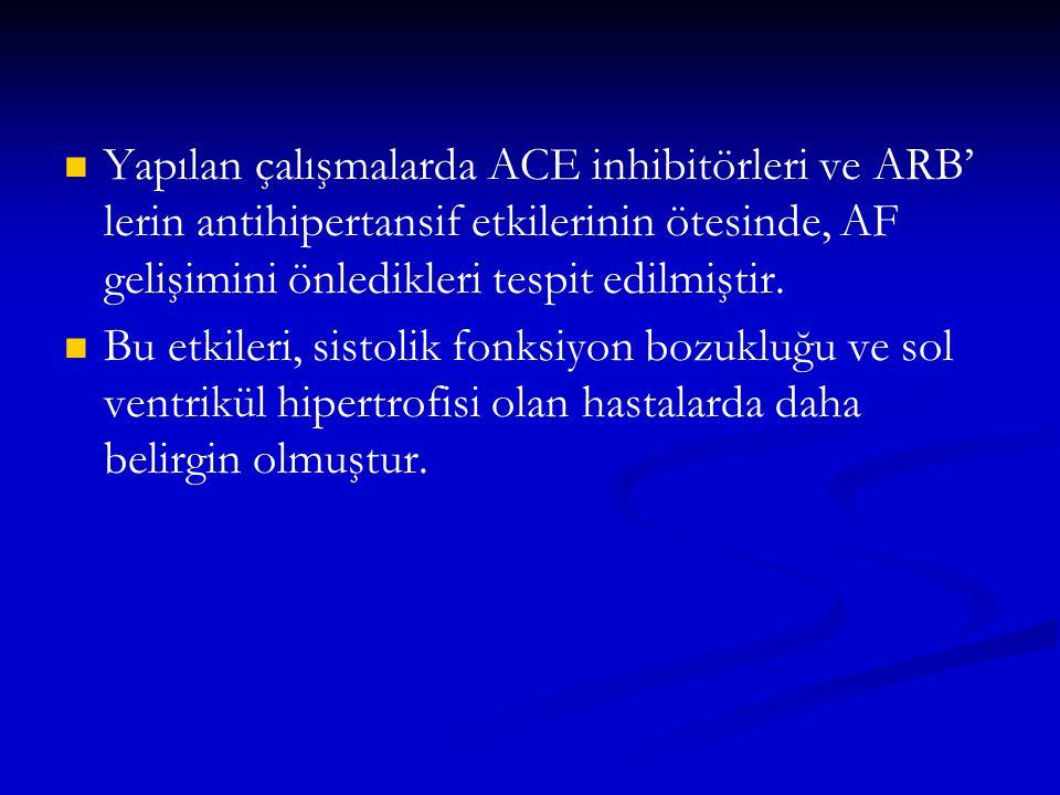 Yapılan çalışmalarda ACE inhibitörleri ve ARB' lerin antihipertansif etkilerinin ötesinde, AF gelişimini önledikleri tespit edilmiştir.