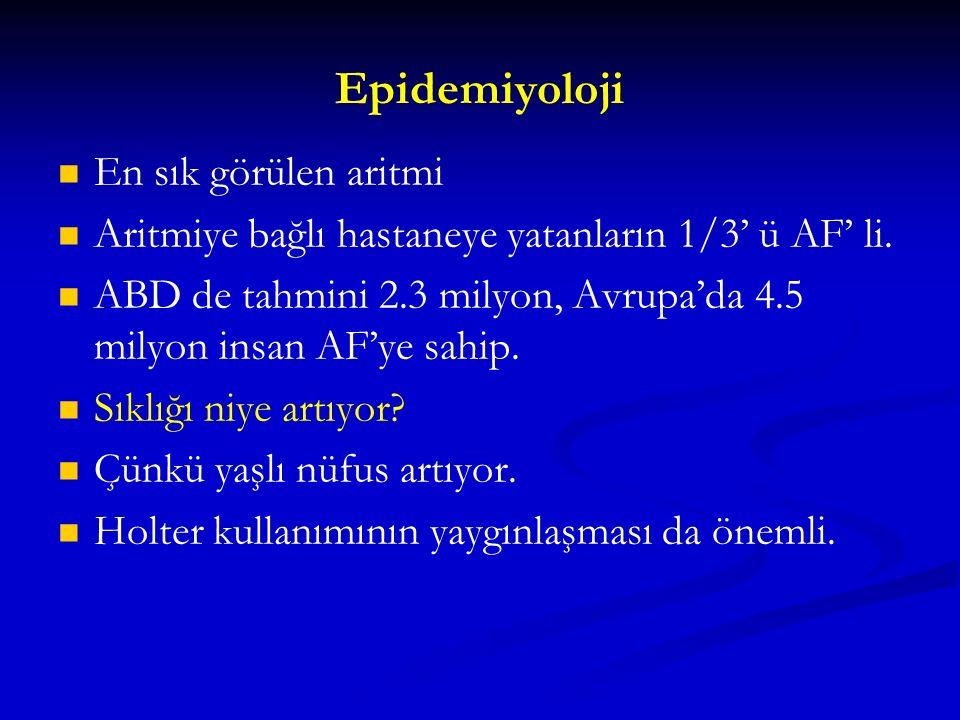 Epidemiyoloji En sık görülen aritmi