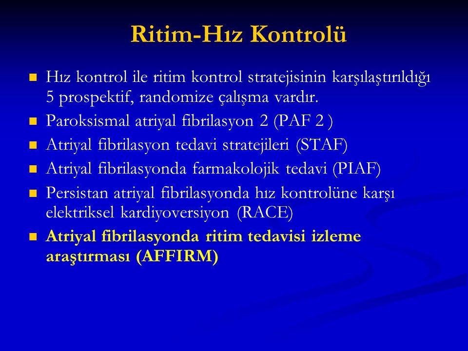 Ritim-Hız Kontrolü Hız kontrol ile ritim kontrol stratejisinin karşılaştırıldığı 5 prospektif, randomize çalışma vardır.
