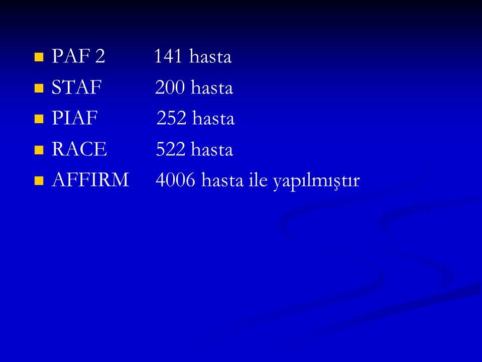 PAF 2 141 hasta STAF 200 hasta. PIAF 252 hasta. RACE 522 hasta.