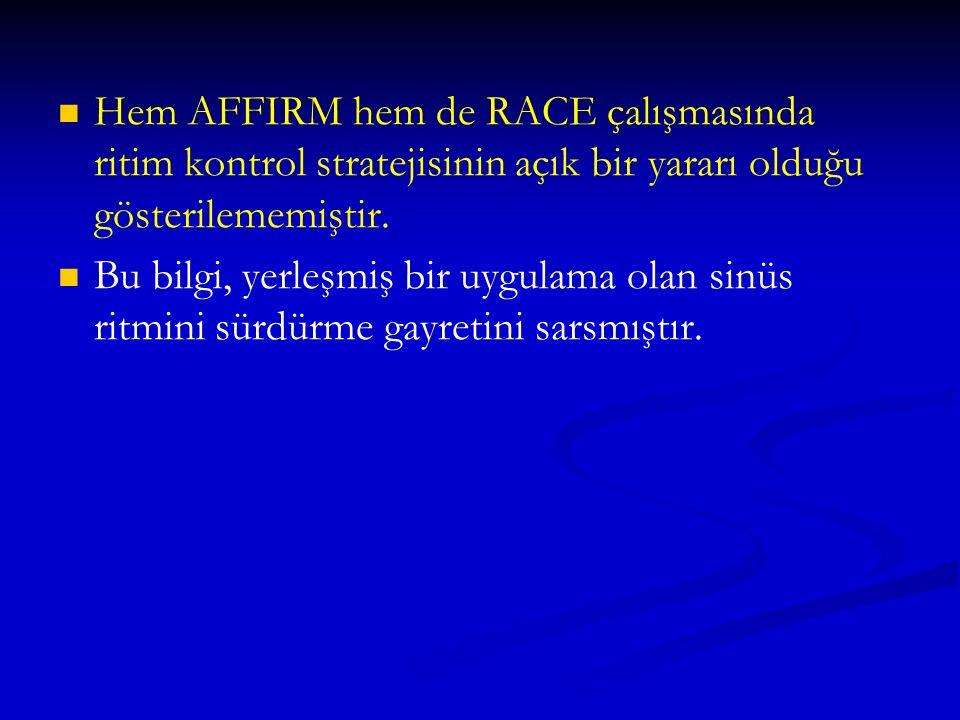 Hem AFFIRM hem de RACE çalışmasında ritim kontrol stratejisinin açık bir yararı olduğu gösterilememiştir.