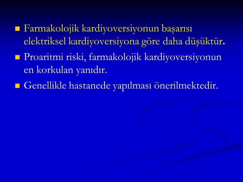 Farmakolojik kardiyoversiyonun başarısı elektriksel kardiyoversiyona göre daha düşüktür.