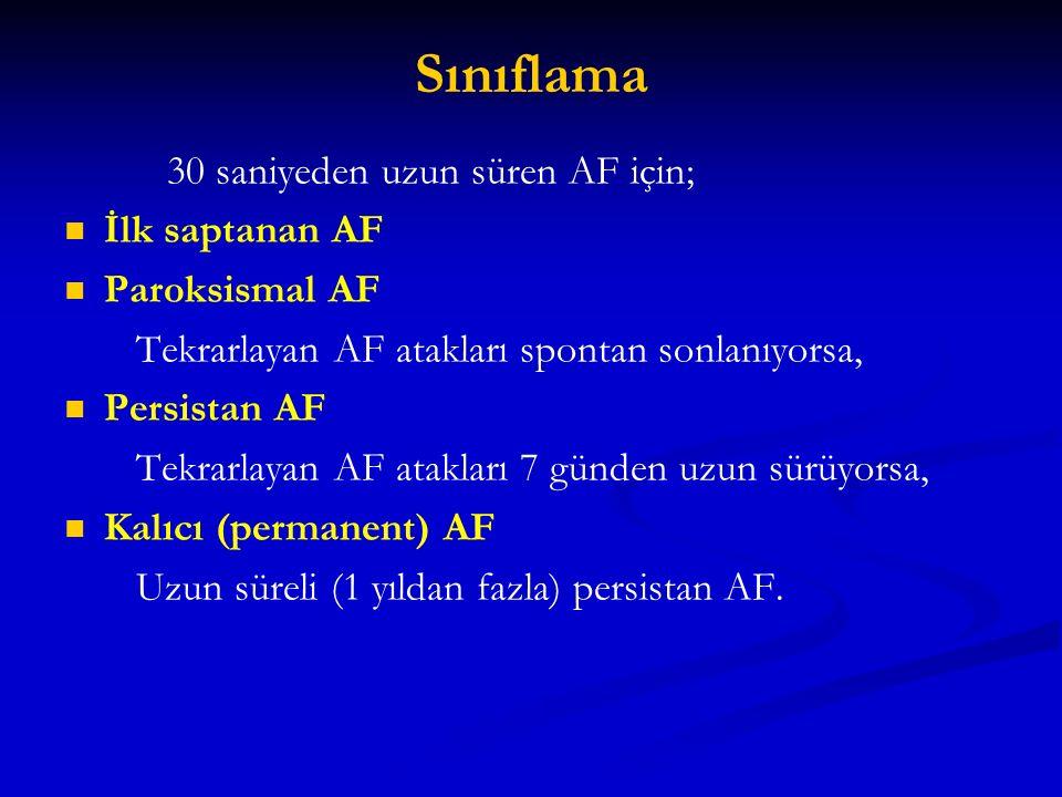 Sınıflama 30 saniyeden uzun süren AF için; İlk saptanan AF